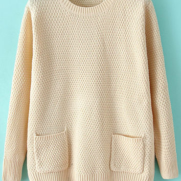 Solid Color Long Sleeve Pocket Sweater