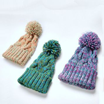 KNB011 Winter Warm Pom pom Beanies Hat Ladies Girls Women Colorful Thick Twist Cable Pattern Knitted Hat Skullies Bones Cap