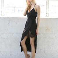 Kendall Side Lace Cami Dress (Black)