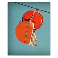 Mid century wall art, mid century print, orange red, mad men, mid century decor, carnival photo - SkyGlider I, 8x10 fine art photograph