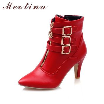 Meotina New Shoes Women High Heels Ankle Boots