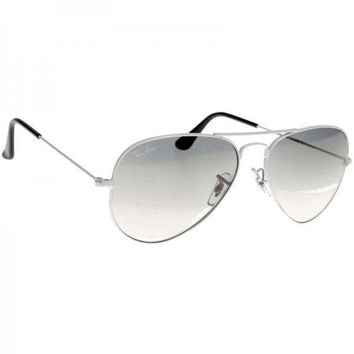 RAY-BAN (AUTHENTIC: ITALY) White Wire Frame Gradient Lens Aviator Sunglasses w/