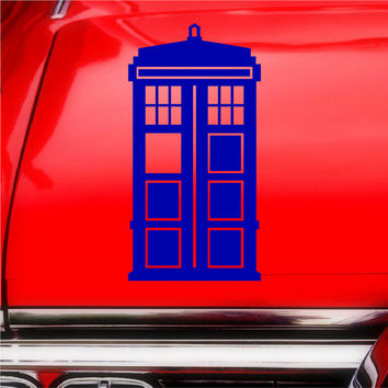 Doctor Who Tardis Blue Macbook iPad Car Window Notebook Laptop Decal Sticker, 1 Free Bad Wolf Decal