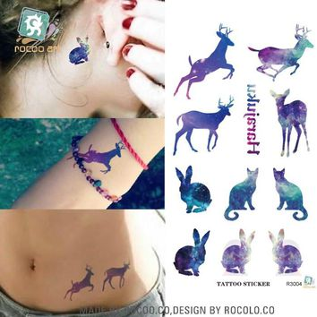 R3004 Disposable Waterproof 3d Tattoo Sticker Color Runs Elk Pattern Temporary Tattoo Stickers Flash Fake Tattoo Foil Decal