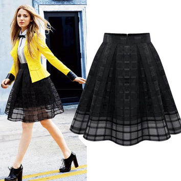 Women Organza Midi Skirts Style Elastic High Waist Zipper Ladies SkirtPleated A Line Tulle Skirts JFY66