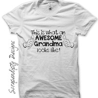 Grandma Iron on Transfer - Iron on New Grandparent Shirt / What an Awesome Grandma Looks Like / Womens Shirt / Baby Shower Gift IT246-C