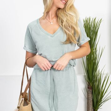 Faded Sage Drawstring Dress
