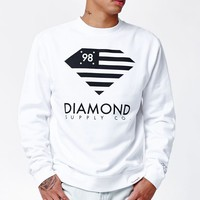 Diamond Supply Co Diamond Flag Crew Neck Sweatshirt - Mens Hoodie - White