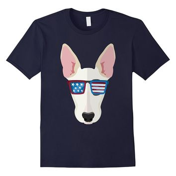 Bullterrier Dog with hat sunglass Us Flag 4th of July Tshirt