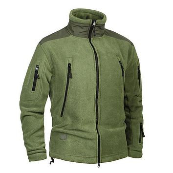 Clothing Coat Men Thicken Warm Military Army Fleece Jacket Patchwork Multi Pockets Polartec Men's Jacket and Coats