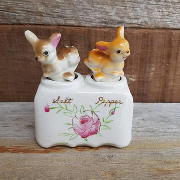Vintage Deer Nodders Salt And Pepper Shakers , Made in Japan , Kitsch Bambi