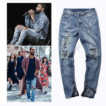 side zipper design stretch ripped men jeans hip hop slim fit  brand  demin destroyed  trousers good quality blue swag PANTS
