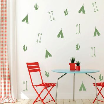 TeePee Wall Stickers For Kids Room DIY Cactus