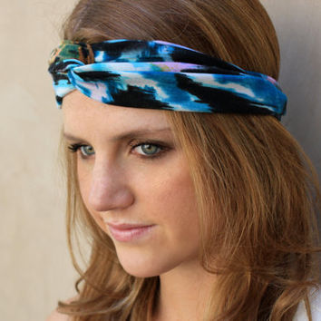 Knotted Headband, Watercolored Turband Headband, Blue, Lavender, Brown, Black