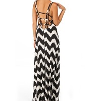 BlackTaupe Cage Back Chevron Maxi