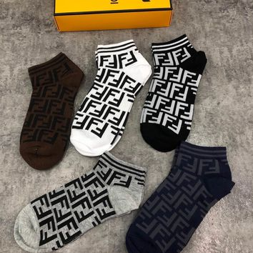 Fendi Fashion 5 Pairs Per Set Sock Style #217