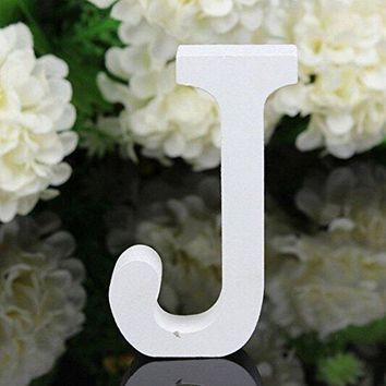 Decorative Wood Letters,Totoo Hanging Wall 26 Letters Wooden Alphabet Wall Letter for Children Baby Name Girls Bedroom Wedding Brithday Party Home Decor-Letters (J)