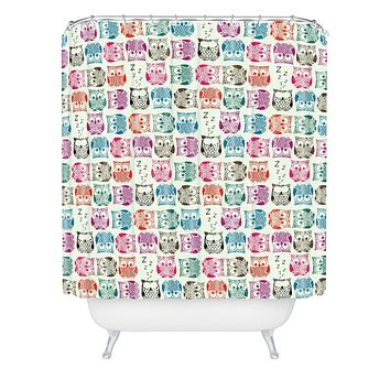 Sharon Turner Light Sherbet Owls Shower Curtain