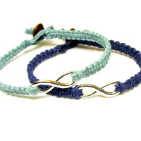 Infinity Bracelets, Set of Two, Dark and Light Blue, Couples or Friendship Bracelets, Made to Order