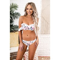 Aloha Beaches Two Piece Floral Swimsuit (White/Pink)