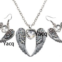 YACQ Guardian Angel Wing Heart Necklace Earrings Sets Antique Silver Color Women Girls Crystal Jewelry Gifts Dropshipping ENC06