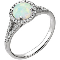 14kt White Created Opal & 1/5 CTW Diamond Ring