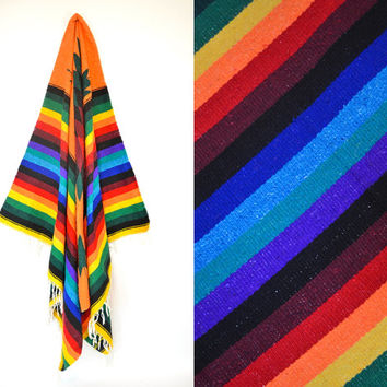"handwoven RAINBOW striped geometric SOUTHWESTERN mexican BLANKET rug throw, 84"" x 52"""