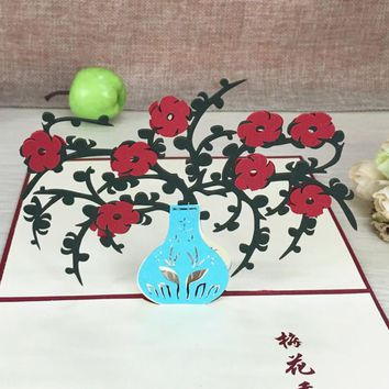 1pcs Plum Blossom Pop Up DIY 3D Greeting Card With Envelope Post Card Handmade Christmas Thanksgiving Birthday Souvenirs Gift