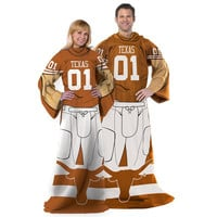 Texas Longhorns NCAA Adult Uniform Comfy Throw Blanket w- Sleeves