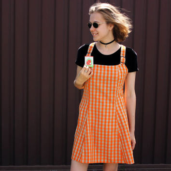 NOS 90's Plaid Jumper Dress / New Old Stock Orange Tartan Dungarees, Preppy Overall Dress / Suspender Mini Dress Size Medium - TWO In STOCK!