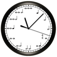 Decorative Music Notes Wall Clock, 10 inches