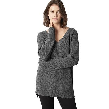 V-Neck Shaker Sweater in Charcoal by 525 America