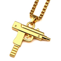 Gold Chain Pistol Pendant Unisex Gold Plated Submachine Gun Pendant Chain Maxi Necklace For Men Women Hip Hop Jewelry Gifts NYUK