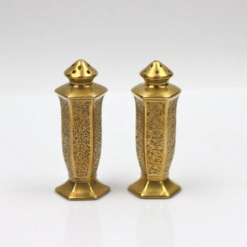Antique Pickard Salt Pepper Set / Art Deco / Gold Leaf Encrusted Porcelain