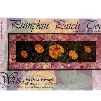Pumpkin Patch Too Applique Quilt Pattern by Wildfire Designs Alaska for Table Runner, Placemats & Napkins!