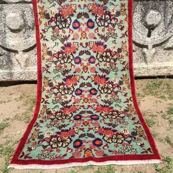 Vintage Turquoise Anatolian rug all wool, natural colors 8x4 hand knotted natural wool, area Rug , small floor rug, wall hanging,