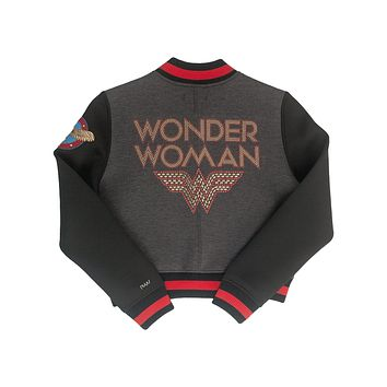 Wonder Woman Glam Studded Varsity Jacket