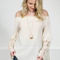 Ivory Crochet Off-Shoulder Top
