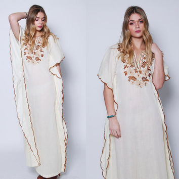 Vintage 70s Cream Caftan EMBROIDERED Caftan Boho Maxi Dress ETHNIC Hippie Dress