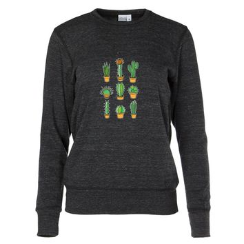 Cute Succulent Cacti Women's Crew Neck Sweatshirt
