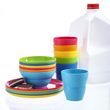 Ellie Kids Plastic Tumblers, Snack Bowls & Snack Plates | 18-piece set in 6 Assorted Colors