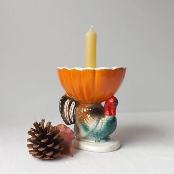 Vintage Brody Turkey and Pumpkin Candle Holder, Figural Ceramic Thanksgiving Candlestick, Autumn Table Decor