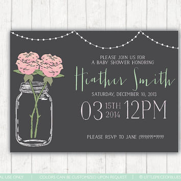 Mason Jar Baby Shower Invitatio, Baby shower invite, mason jar,baby, mint and pink