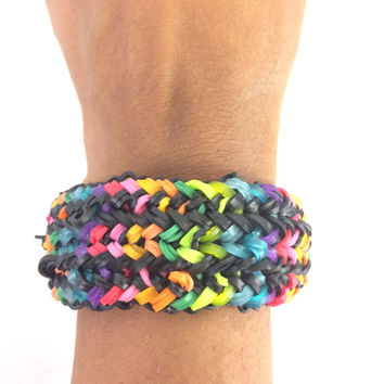 Snake Belly Multicolored Bracelet Made Out of Rainbow Loom Handmade Rubber Bands