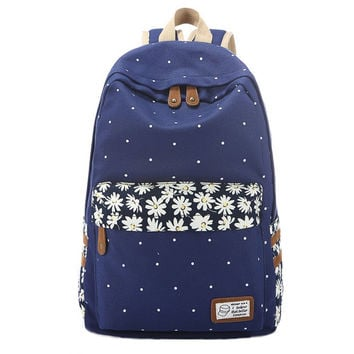 Women's Daisy Flower Canvas Backpack School Bookbag Travel Daypack