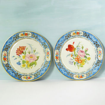 Pair of Blue Floral Tin Plates by Daher Decorated Ware made in Holland