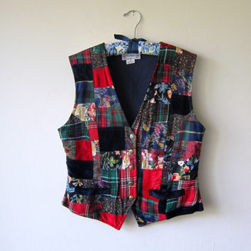90s Patchwork Vest with Tartan, Floral, Paisley, Velvet & Metal Star Buttons // Hipster Hobo Chic, Punk Boho Hippie Vest