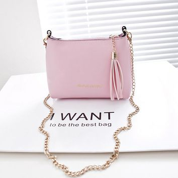 Sweet Candy Color Women Leather Mini Chain Strap Sling Cross Body Shoulder Bags Girls Fashion Tassel Messenger Purses Handbag
