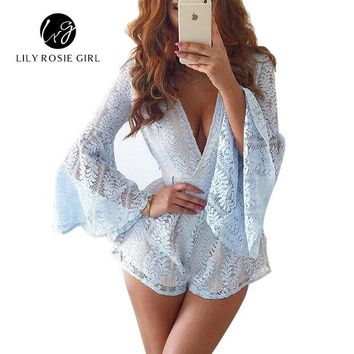 ONETOW OPAL FERRIE - Elegant Low Cut Lace Long Sleeve  Romper