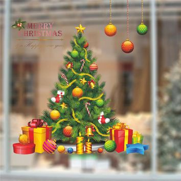 Christmas Tree Gift Wall Sticker Decals Window Party Store Office Decoration New Year Home Decor Poster Mural